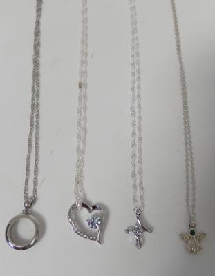 4x silver chains and pendants