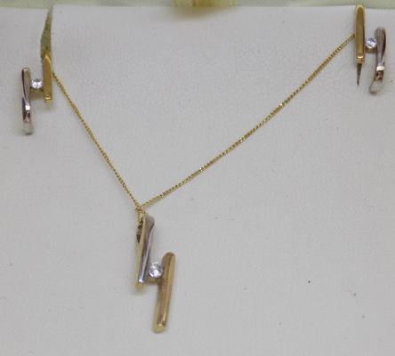 9ct yellow and white gold diamond necklace and matching earring set