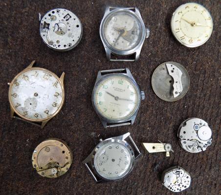 Selection of watch works, incl. Kienzle, Accurist
