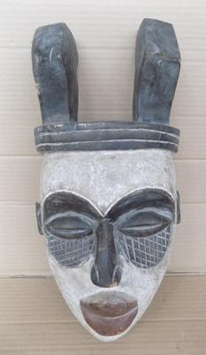 African tribal mask, wooden with large horns