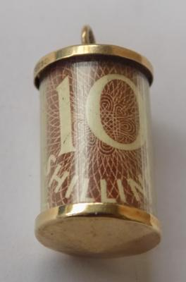 10 shilling note - 9ct gold charm