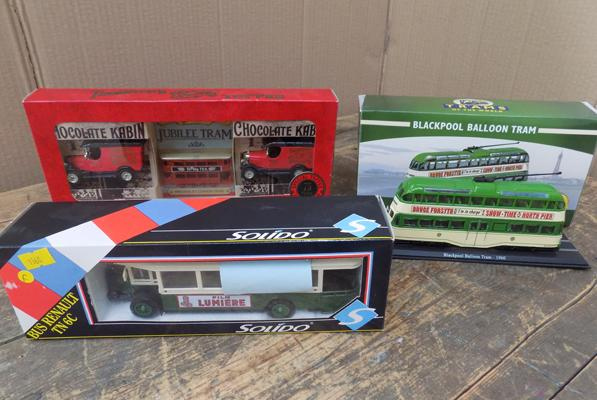 3 boxed large scale collectors diecast buses