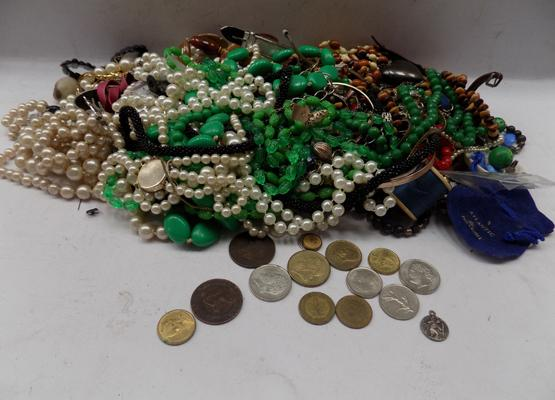 Large selection of costume jewellery + coins
