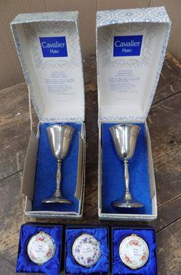 2 boxed Cavalier silverplate repo Georgian goblets and 3 porcelain gold plated trinket boxes