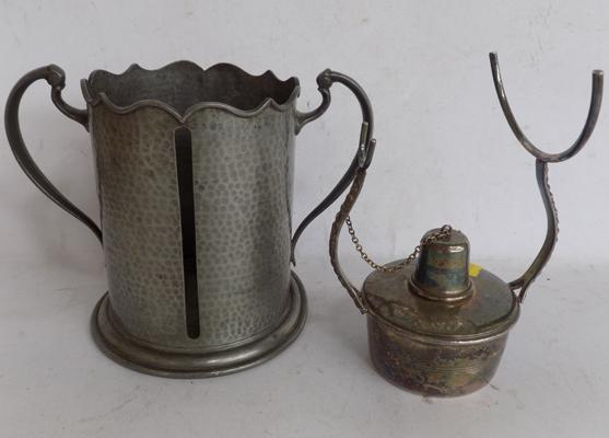 Arts and crafts loving cup Pewter - maker Abbey Sheffield - Victorian brandy glass warmer