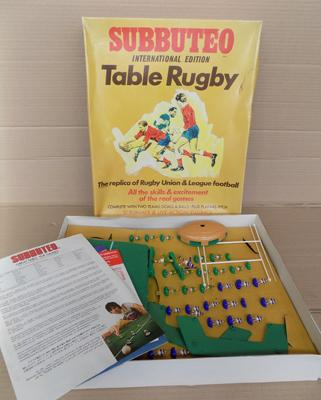 Subbuteo international edition table rugby - complete with paperwork