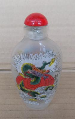 Snuff bottle, internally painted with stopper - approx. 3 inches high