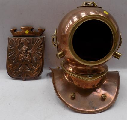 1942 WWII plaque + ornamental copper & brass diving helmet