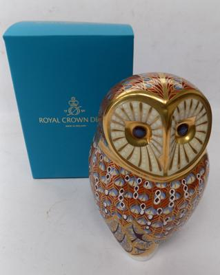 Royal Crown Derby - barn owl with gold stopper