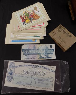 Selection of ephemera incl. West Bromwich Albion official check