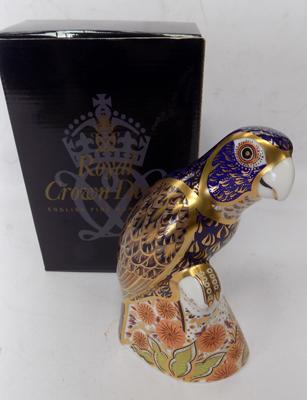 Royal Crown Derby - bronze winged parrot with gold stopper