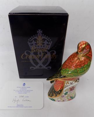 Royal Crown Derby - Lorikeet with gold stopper & certificate, 106 of 2500