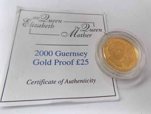 2000 Guernsey gold proof 24ct gold £25 coin -  with certificate of authenticity