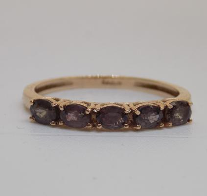 9ct rose gold amethyst ring - size S
