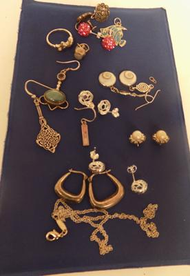 Selection of silver earrings and other jewellery