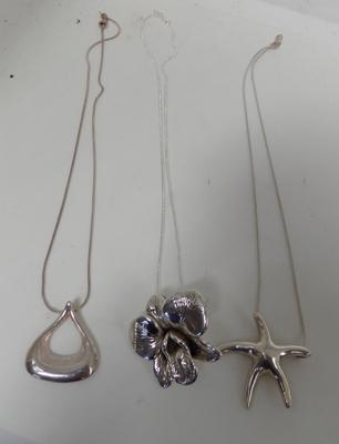 3x silver chains and pendants