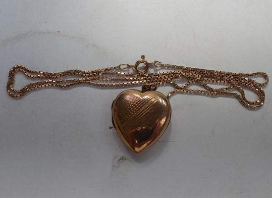 "9ct gold 20"" box chain and 9ct gold B&F opening heart locket"
