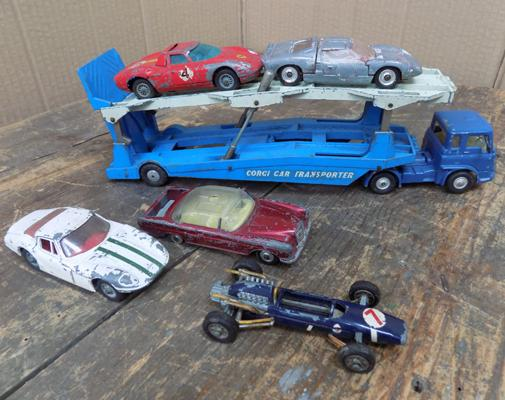 Collection of 1960's corgi cars and transporter - original paint