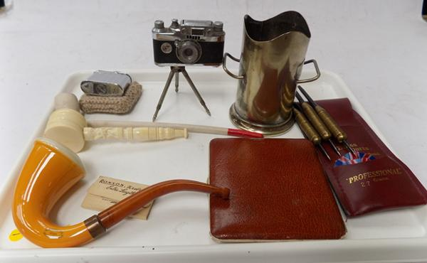 Assortment of collectables incl. Ronson lighter and pipes