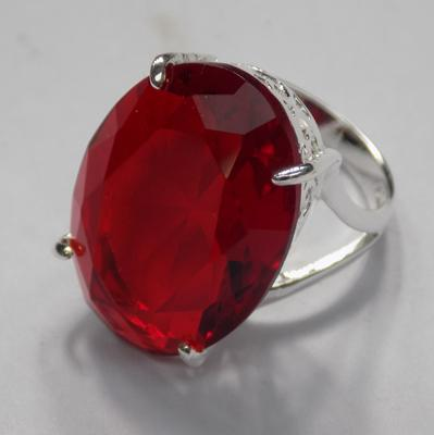 Silver & red stone set ring