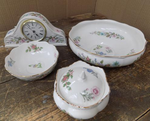 Selection of Aynsley - Wild Tudor, incl. clock
