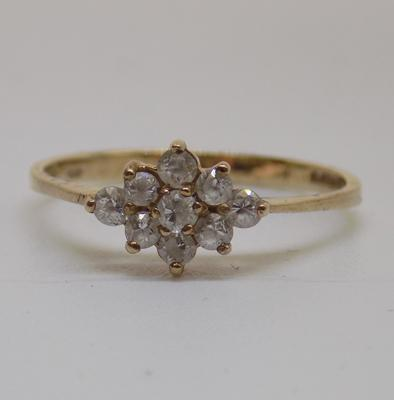 9ct gold diamond shaped cluster ring - size Q1/2
