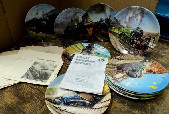 Assortment of railway collectable Davenport plates with certificates
