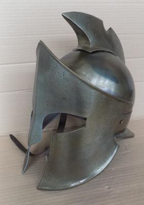 Bronze coloured Spartan style helmet with leather inner