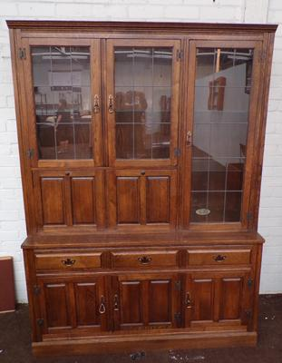 Lupton's oak furniture - large glass topped cabinet