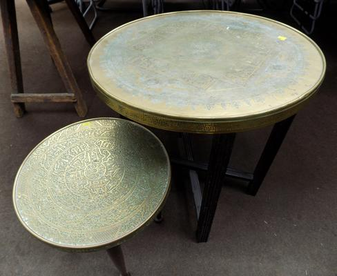 2 brass topped tables