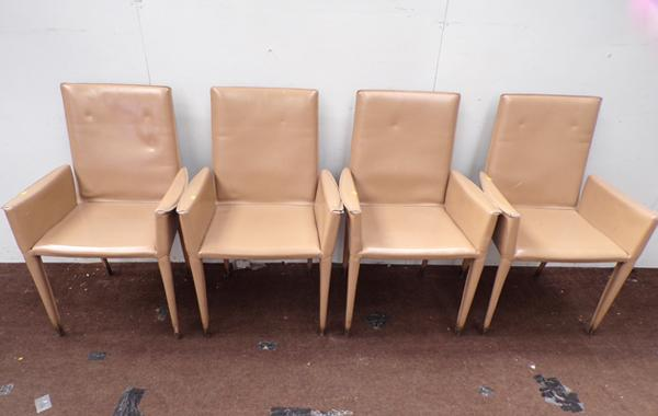 4 x Italian leather Frag designer chairs