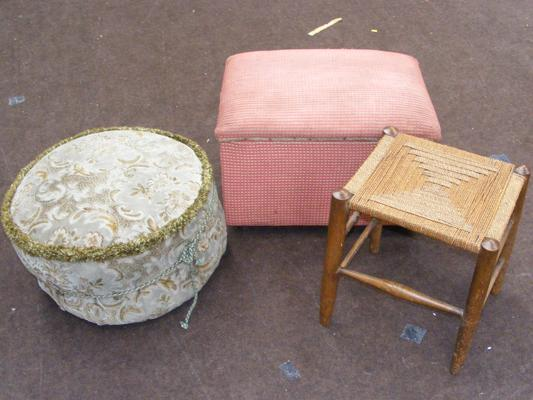 Two retro foot pouffes & small stool