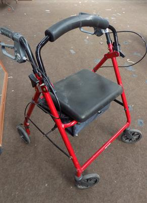 Four wheeled mobility walker with brakes