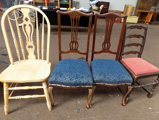 Solid pine chair and 3 others