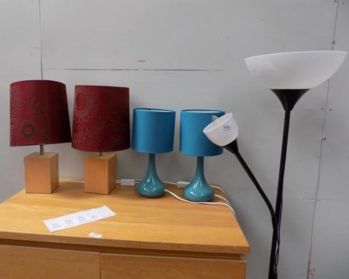 Two table lamps and two bedside lamps and standard lamp