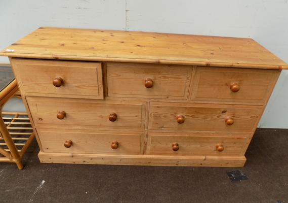 Three over two over two pine chest (7 drawers)
