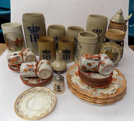 Mixed box of collectable ceramics incl. Stein