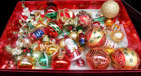 Box of vintage Christmas tree baubles