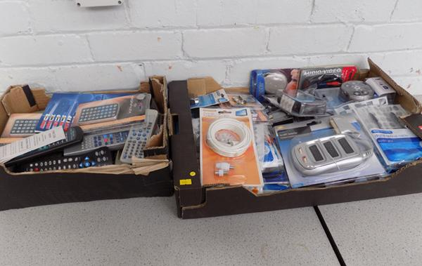 Two boxes of electricals, incl. remotes