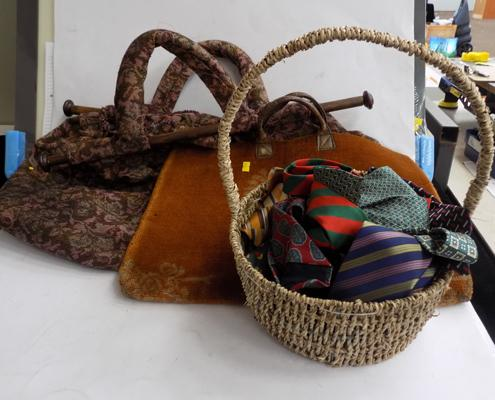 2x knitting bags and selection of silk ties