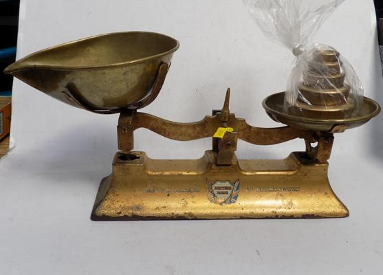 Day & Millward of Birmingham brass and cast iron kitchen scales and weights