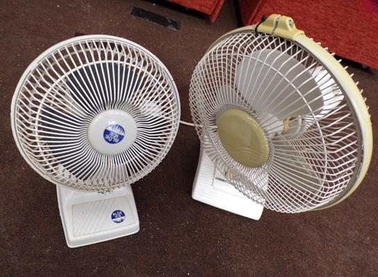 2 electric fans - both W/O - ideal for hot weather
