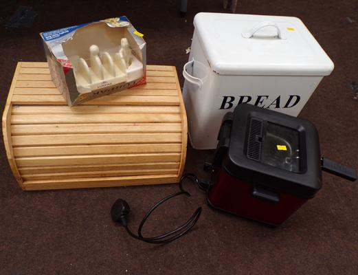 Selection of kitchen items incl. bread bins and Lurpak boxed toast rack