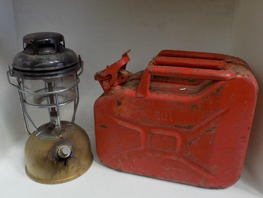 Jerry can and oil lamp