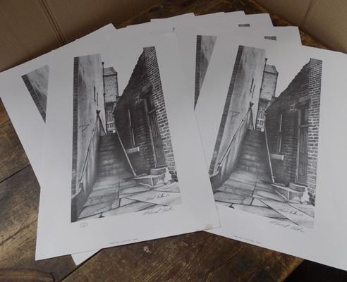 8 signed prints of Haworth by local artist S.Walton - ltd. numbered run