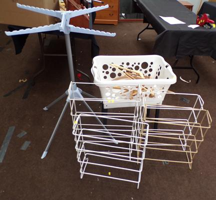 Selection of shoe racks + clothes hangers etc