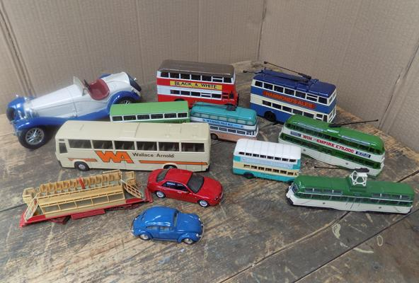 Assortment of diecast vehicles, incl trams