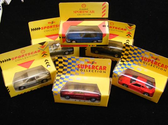 Six vintage Esso boxed sport's cars