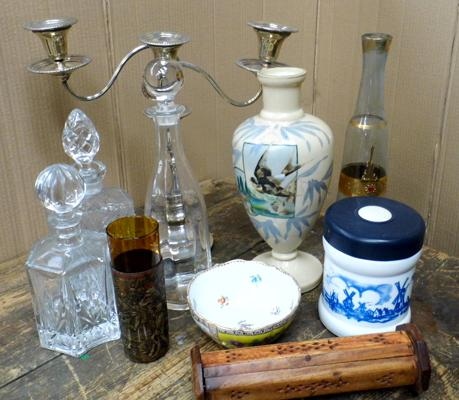 Box of mixed collectables incl. Dresden, Mappin and Webb
