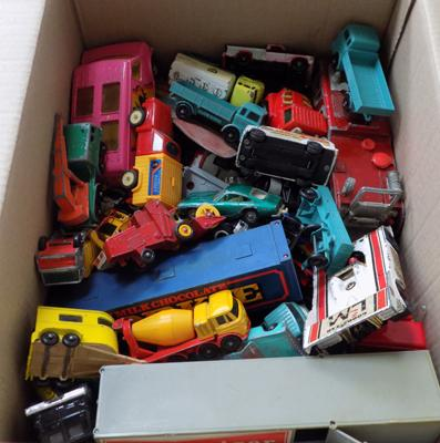 Large box of play-worn diecast incl. dinky, corgi, lesney and matchbox